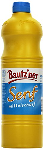 BAUTZ'NER Senf mittelscharf – 4er Pack (4 x 1 l) Flasche Mittelscharfer Senf– Original Bautz'ner Rezeptur seit 1955 – Ohne Zusatz von Konservierungsstoffen und Geschmacksverstärkern – Senf