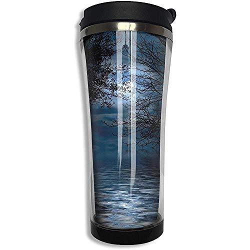 JULOE Night Sky Forest Vollmond Hexe Edelstahl Kaffeebecher Travel Cup mit Deckel Vakuumisolierte Kaffeetasse