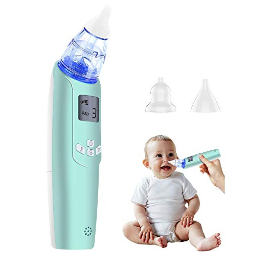 Baby Nasal Aspirator - Electric Nose Suction for Baby - Automatic Booger Sucker for Infants - Battery Powered Snot Sucker Mucus Remover for Kids Toddlers (Green)