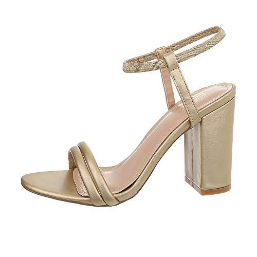 Ital-Design Damenschuhe Sandalen & Sandaletten High Heel Sandaletten Synthetik Gold Gr. 38