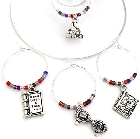 Book Lover gift Literary Lover Wine Charms Book Nerd gift Includes I love to read Once upon product image