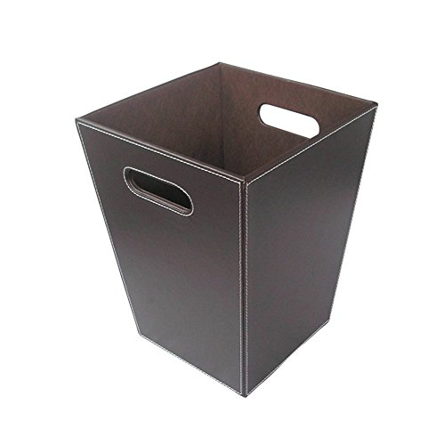KINGFOM Classic Leather Trash Cans Waste Paper Basket Storage Bin for Bathroom Kitchen Office and High Class Hotel