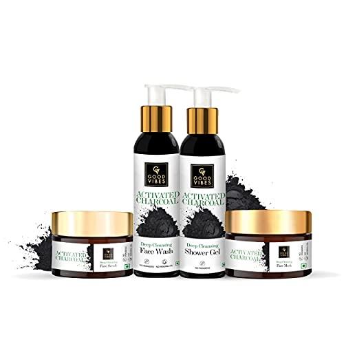 Good Vibes Charcoal Range Combo Kit (Face Wash 120 ml + Shower Gel (Body Wash) 200ml + Face Scrub 50 g + Face Mask 50 g)