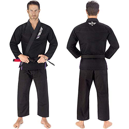 Elite Sports BJJ GI for Men IBJJF Kimono BJJ Jiujitsu GIS W/Preshrunk Fabric & Free Belt (See Special Sizing Guide) (Black, Size 1)