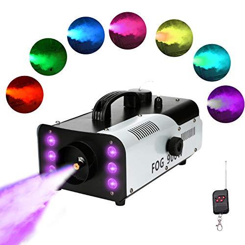 4YANG Máquina de humo 900 W, máquina de humo, con mando a distancia, inalámbrica, 6 luces de colores, máquina de humo, para Halloween, bodas, representaciones teatrales