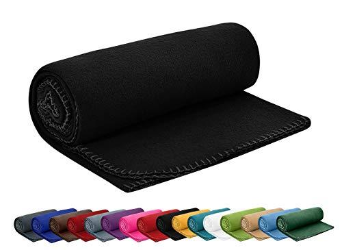 Polar Fleecedecke 130x160 cm ca. 400g schwer OekoTex mit Anti-Pilling und Kettelrand schwarz, weitere Farben erhältlich