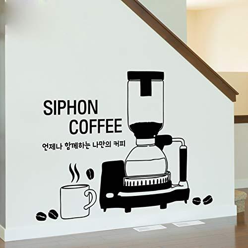xinyouzhihi Vinyl Wandaufkleber Abziehbilder Kaffeemaschine Teetasse Schaufenster Kunstwand Küche Wohnzimmer Dekoration 42x60 cm