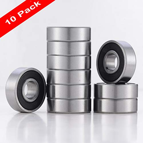 10 PACK R8-2RS BEARINGS, R8 Sealed Deep Groove Ball Bearing, Pre-Lubricated Ball Bearing1/2' X 1 1/8' X 5/16'