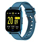 Fitness Tracker Watch for Women Men - Heart Rate Blood Pressure Oxygen Monitor Health Exercise Watch, Activity Tracker with Weather Step Calorie Counter, Waterproof Smart Fitness Watch (Blue)