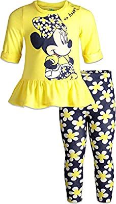 Disney Minnie Mouse Toddler Girls Long Sleeve Peplum Top Shirt & Legging Set (Yellow, 3T)