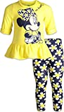Disney Minnie Mouse Toddler Girls Long Sleeve Ruffle Tunic Shirt & Legging Set (Yellow, 4T)