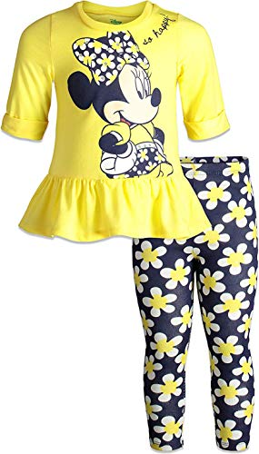 Disney Minnie Mouse Toddler Girls Long Sleeve Peplum Top Shirt & Legging Set (Yellow, 3T)
