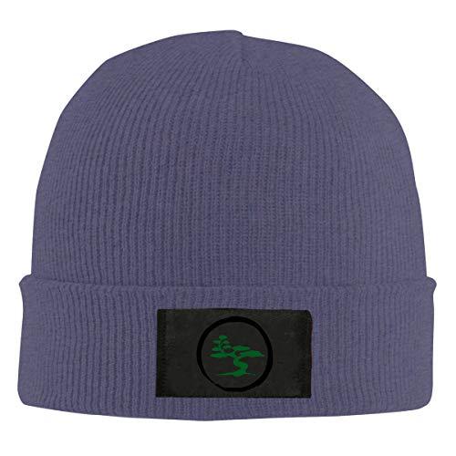 RsI75O-B Mens and Womens 100% Polyester Knitted Hat, Daily Bonsai Tree Skull Cap Navy
