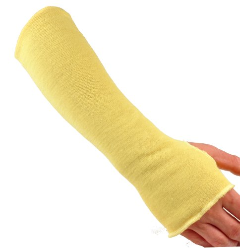 G & F 58123-6 100% Kevlar 18-Inch Cut Resistant Knit Sleeve with Thumb Hole, Yellow, Sold by 6-piece pack