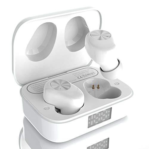 Amazon Brand – Eono Auriculares de botón inalámbricos Eonobuds 1 con Bluetooth, Sonido nítido,IPX7 de impermeabilidad,Carga USB-C,Auriculares Bluetooth en la Oreja para el Trabajo(Blanco)