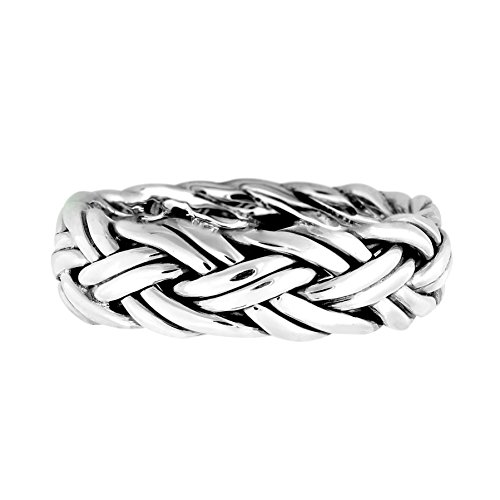 AeraVida Hand Crafted Woven Braid 7 mm Band .925 Sterling Silver Ring (12)