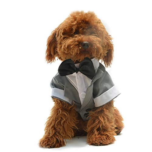 lovelonglong Hunde Schwarzer Smoking-Anzug Kostüme Party Formellen Anzug mit Schwarzer Fliege für Kleine, Mittelgroße, Großer Hunde, Bulldogge Kostüme Gray L