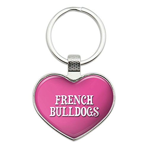 Metal Keychain Key Chain Ring Pink I Love Heart Dogs D-M - French Bulldogs