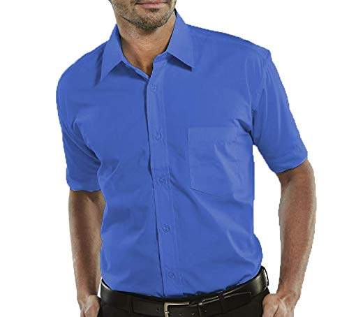 Camisa Social Manga Curta 100% Microfibra Masculina Azul