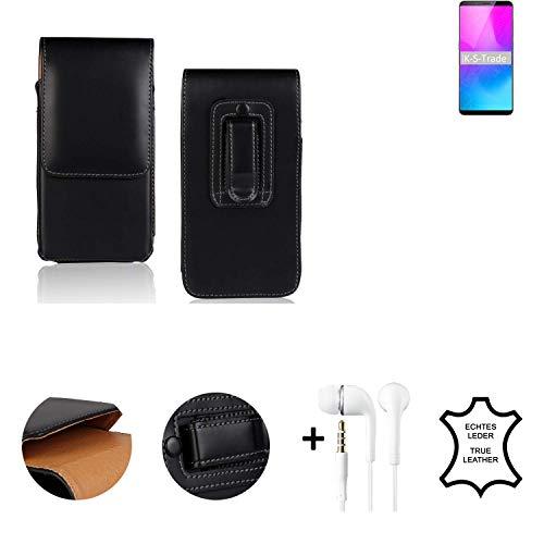 K-S-Trade® Leder Gürtel Tasche + Kopfhörer Für Nubia Z18 Mini Seitentasche Belt Pouch Holster Handy-Hülle Gürteltasche Schutz-Hülle Etui Schwarz 1x