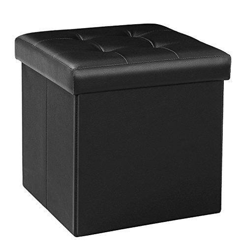 Bonlife Sgabello Comodino Puff Contenitori Piccoli Tavolino Salotto Pouf Contenitore Ecopelle Cubo Portaoggetti Pouf Camera Quadrato 32x32x32cm Nero