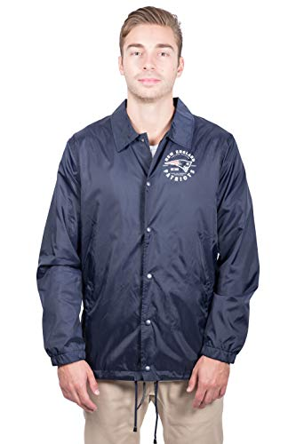 Ultra Game NFL New England Patriots Mens Nylon Waterproof Windproof Coach's Jacket, Team Color, Large
