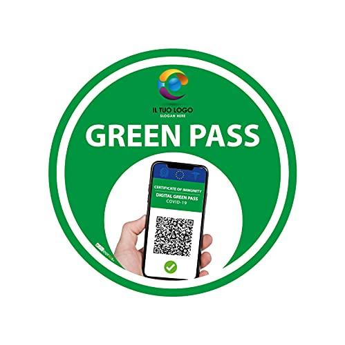 Adesivo Bollino Verde calpestabile, antiscivolo - Green Pass - Certificazione Verde - Accesso, access (30cm) (3)