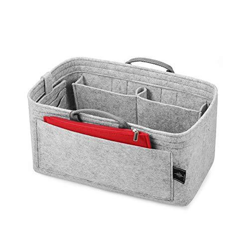 BONTHEE 30x16 cm Tasche Organizer Handtasche Filz Handtaschenorganizer mit Reißverschluss Make-up Tasche, Kreditkartenhalter und Versenkbare Griffe