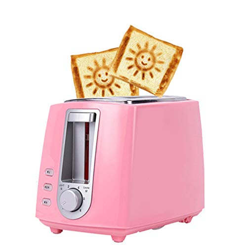 Grille-pain 2 tranches compactes en acier inoxydable fonction de dégivrage du grille-pain mode à 6 vitesses, fente extra-large de 35 mm (motif souriant après la cuisson),pink