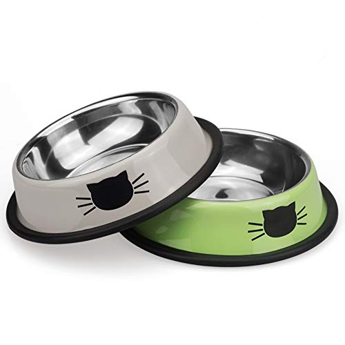 Petfamily Stainless Steel Cat Bowl, Heavy Duty Painted Dog or Cat Dish with Non-Skid Rubber Bottom for Small Dogs & Cats, Pet Food & Water Bowl 8 Ounce (Set of 2) (Green/Grey)