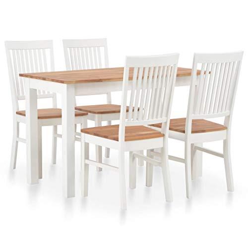 vidaXL Eichenholz Massiv Essgruppe 5-TLG. Esstischset Esszimmertisch Holztisch Küchentisch Sitzgruppe Esszimmergarnitur Esstisch mit 4 Stühlen