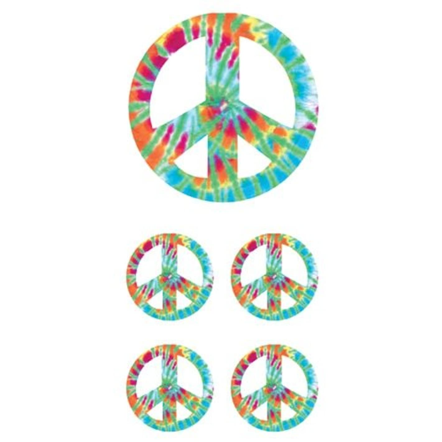 Paper House Productions ST-2210E Photo Real Stickypix Stickers, 2-Inch by 4-Inch, Peace Sign - Tie Dye (6-Pack)
