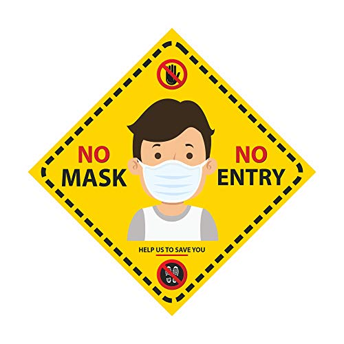 Anne Print Solutions® Coronavirus No Mask No Entry Floor Vinyl Stickers Pack of 4 Pcs Size 12 Inch *X 12 Inch* Multicolour