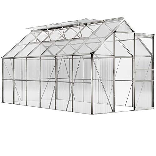 Deuba Invernadero de jardín de Aluminio 11,73m³ 4 Ventana Puerta corredera y 2 canalones Vivero para Plantas Huerto