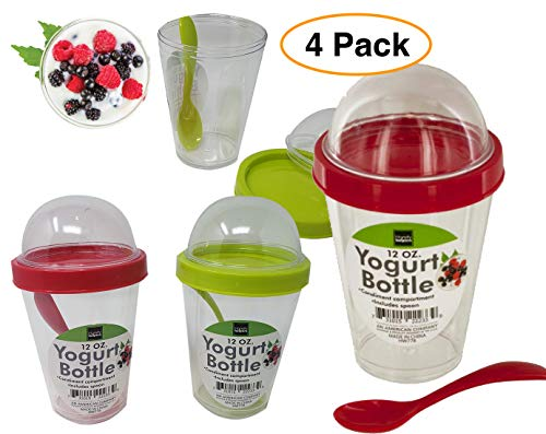 Yogurt Cup Reusable 12 oz. with Lid Top Compartment & Spoon | Cereal, Granola & Fruit (4 Pack)
