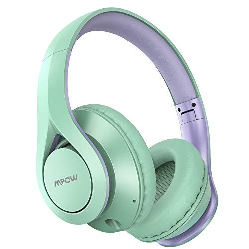 Mpow 059 Lite Bluetooth 5.0 Auriculares Over Ear, hasta 60 Horas, Inalámbrico Over Ear con CVC 8.0 Micrófono, Hi-Fi, Plegable Over Ear Bluetooth Auriculares para iPhone/iPad/Android/portátiles