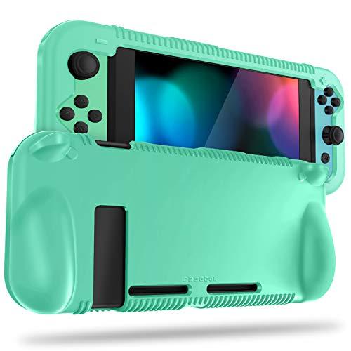 FINTIE Silikon-Schutzhülle kompatibel mit Nintendo Switch – Weiche [Anti-Rutsch] [Stoßfest] Schutzhülle mit ergonomischem Griff Design, Fallschutz Grip Case (Hellgrün)