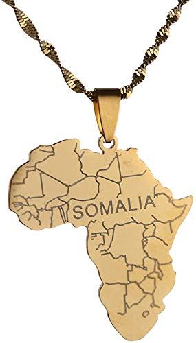 Liuqingzhou Co.,ltd Collar de Acero Inoxidable con Mapa de África con Collares Colgantes de Somalia para Mujeres y Hombres joyería de Cadena de mapas africanos