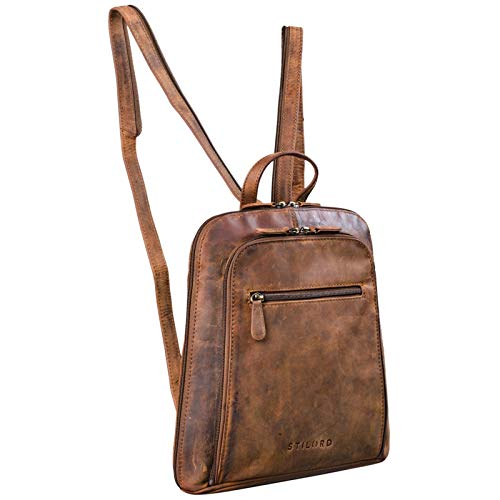 STILORD 'Talisa' Kleiner Leder Rucksack Damen Vintage Rucksackhandtasche Lederrucksack Handtasche City Ausgehen Shopping Daypack, Farbe:mittel - braun
