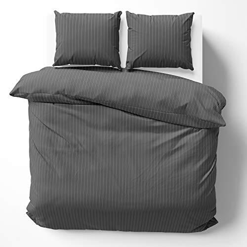 Alreya Mako Satin Bettwäsche 200 x 200 cm Anthrazit Streifen - 100% Baumwolle mit YKK Reißverschluss, Superweiches Bettbezug, nur Bettbezug