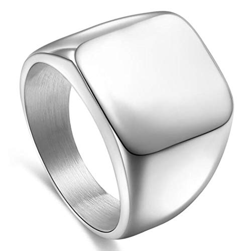 Signet Biker Rings Solid Polished Stainless Steel Ring for Men Size 7-15,Silver Color in Size 9