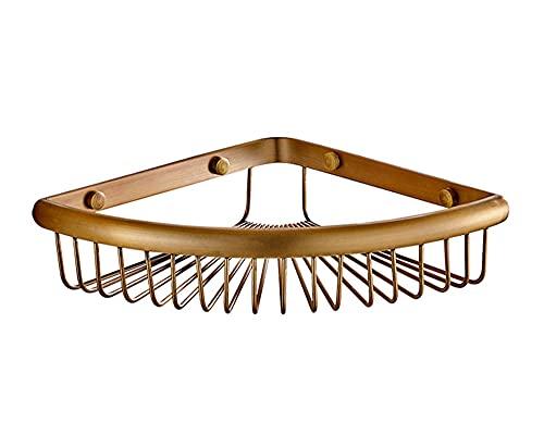 Estantería Latón Almacenaje Esquina Ducha Cesta Bandeja de Pared Repisas Metal Accesorios de Baño Pequeña Estantes Rinconera de Cocina Organizador Antioxidantes, Triangular, Bronze