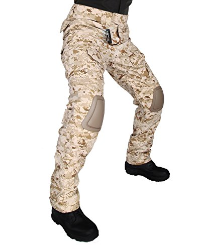 ZAPT Tactical Pants with Knee Pads Airsoft Camping Hiking Hunting BDU Ripstop Combat Pants 13 Kinds Army Camo Uniform Military Trousers (MARPAT Desert Digital, L36)