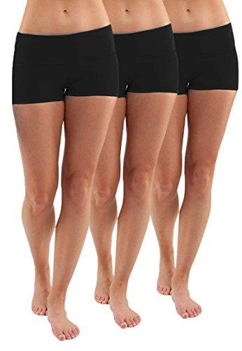 iloveSIA 3X Shorty Damen Schwarz Sport Sommer Fitness Mädchen Hosen Strecken Laufen Shorts,S