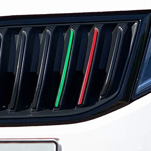 P006 | Kühlergrill Folien-Set | Front Stripes | Gitter Aufkleber | Styling | Rot/Grün