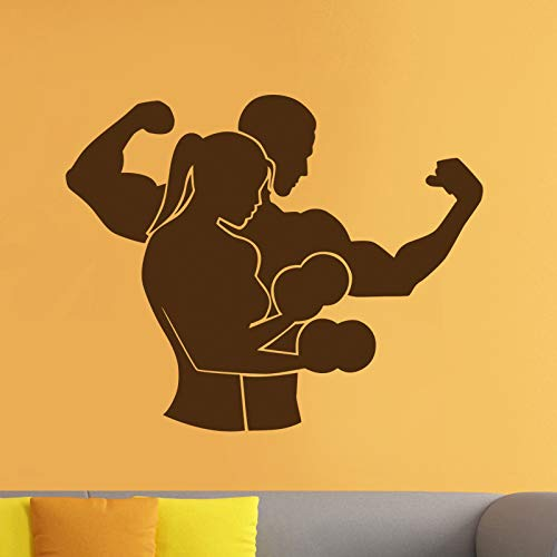 ASFGA Hantel Muskel Fitness Club Aufkleber Fitnessstudio Aufkleber Dekoration Poster Vinyl Decoracion Wandtattoo Dekoration Wandbild Auto Fitnessstudio Aufkleber 20x25cm