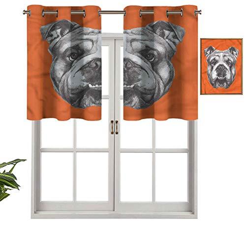 Hiiiman Cenefa corta recta, diseño de bulldog inglés, 1 unidad, 127 x 45 cm para ventanas de cocina