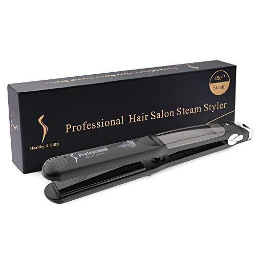 LONGKO Piastra per capelli professionale a vapore – 6 temperature salone piastra piastra in tormalina 2 in 1 e bigodini per tutti i tipi di capelli (nero)