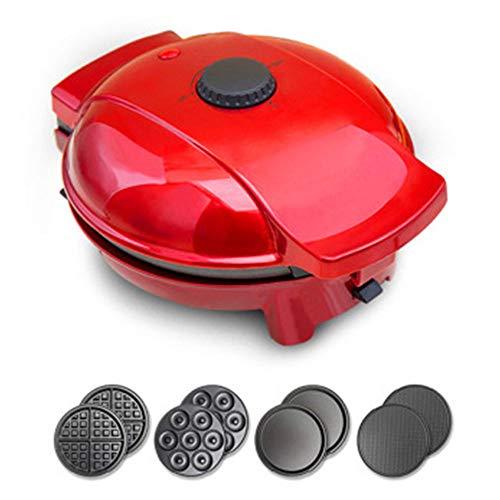 CGOLDENWALL Waffeleisen/Grillplatte/Donut Maker/4-in-1 Antihaft-Kreppmacher mit 4 abnehmbaren, antihaftbeschichteten,austauschbaren Platten&0-200 ℃ Einstellbarer Thermostat (Maschine + 4 Fächer)