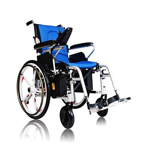 N/Z Inicio Equipamiento Silla de Ruedas eléctrica de Cuatro Ruedas Scooter para Personas Mayores Trolley Ultraligero Plegable Ligero Silla de Ruedas para Personas Mayores Azul
